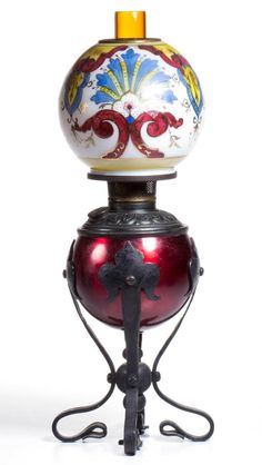 Lot: VERY RARE FOOTED MINIATURE OIL LAMP, Lot Number: 0063, Starting Bid: $150, Auctioneer: Jeffrey S. Evans & Associates, Auction: Miniature Lamps, Kerosene & Related Lighting, Date: May 30th, 2015 EDT