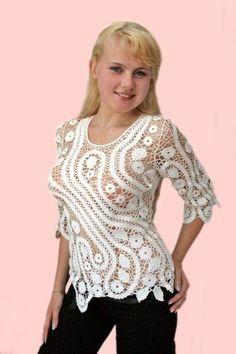 летние ов Russian Crochet, Japanese Crochet, Irish Crochet, Crotchet Dress, Crochet Blouse, Crochet Bikini, Freeform Crochet, Crochet Lace, Crochet Stitches