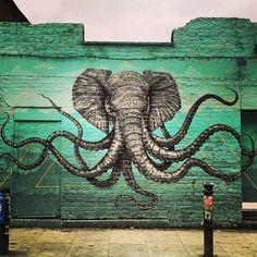 elephant octopus street art graffiti