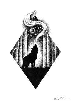 Dotted Drawings, Pencil Art Drawings, Cool Art Drawings, Art Drawings Sketches, Tattoo Drawings, Stippling Art, Wolf Artwork, Tattoo Flash Art, Wolf Tattoos