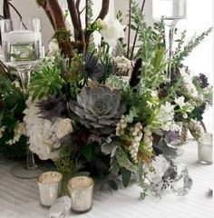 Lots of greys, whites, greens and silvers in the arrangements.