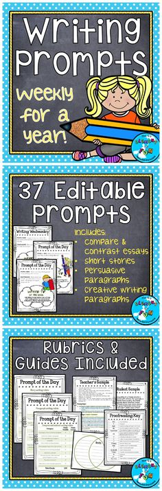 Weekly Writing Prompts for a year includes compare and contrast, descriptive, persuasive, and creative writing prompts. Teacher Created Resources, Free Teaching Resources, Teaching Ideas, First Year Teachers, New Teachers, Essay Prompts, Paragraph Writing, Creative Writing Prompts, Compare And Contrast