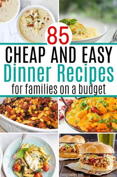 Quick and easy dinner recipes for a family on a budget. These cheap dinner ideas will save you time and money. These easy recipes require few ingredients. #easydinnerrecipes #quickandeasydinnerrecipes #cheapdinnerideas Super Cheap Meals, Cheap Meals To Cook, Cheap Vegetarian Meals, Cheap Dinners, Frugal Meals, Budget Meals, Easy Meals, Cheap Meals On A Budget Families, Budget Recipes