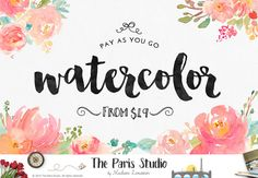 Custom Logo Design Watercolor Floral Logo Design Pay As You Go #Branding #Website #Blog