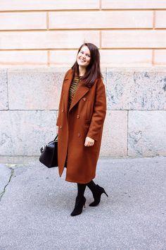 Marimekko brown dress, H&M rusty brown long wool coat, black suede heel shoes, Givenchy Antigona Suede Heels, Shoes Heels, Givenchy Antigona, Long Wool Coat, Marimekko, Brown Dress, Black Suede, Jackets, Outfits