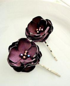 Eggplant Bridal Bobby Pins, Small Fabric Flowers, Cute Flower Girl Clips, Plum Bridesmaids Gift, Wedding Hair Accessories. $10.00, via Etsy.