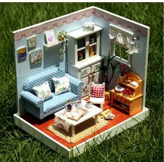 A corner of LED Light dollhouse room miniatures the Happy Moments with cover(fresh home)