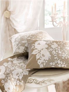 Luxury Bedding Sets For Less Modern Colors, Neutral Colors, Bed Pillows, Cushions, Linens And Lace, French Country Cottage, White Cottage, Perfect Pillow, Interior Exterior
