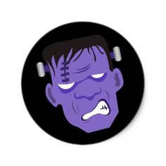 Frankenstein Halloween Sticker  Make custom stickers for every occasion! Browse our selection of awesome images or upload your own. The perfect choice for any message or design, round stickers are great for brand promotion, special mailings, and scrapbooking.    #frankenstiensticker #halloween #sticker #zazzle #frankenstein #scary