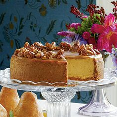 Pumpkin-Pecan Cheesecake ~ Combine your favorite Thanksgiving desserts into one delicious cheesecake! A sweet Praline Topping sends this dessert over the edge.