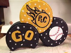 """RCHS Crescents, can be any sort and athletes name instead of """"GO"""" Cement Pavers, Painted Pavers, Brick Pavers, Painted Rocks, Painted Bricks Crafts, Brick Crafts, Landscape Pavers, Garden Pavers, Tole Painting"""