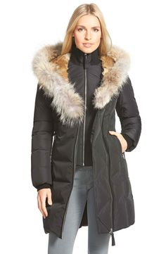 540d480db9d6 Mackage Hooded Long Down Coat with Genuine Rabbit   Coyote Fur Trim Long Hooded  Coat