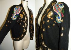 1980s 80s Sweater / Beaded sequin Cardigan /  sweater by JEWVENCHY