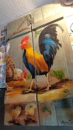 Wood Pallet Art, Pallet Painting, Painting On Wood, Wood Art, Rooster Painting, Rooster Art, Tole Painting, Chicken Painting, Chicken Art