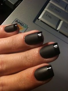 "Here are some very cool matte black nails with glossy tips. I love this trend of ""nail art,"" being taken to another level."