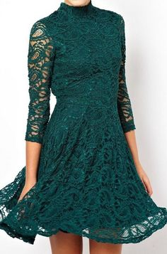 Green Lace High Neck Sheer 3/4 Sleeve Backless Skater Dress