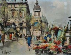 "#CLAVERFernand, 1918-1961. ""Flower Market and the waterfront"", Paris. Oil on canvas, signed lower left, titled and located on the back."