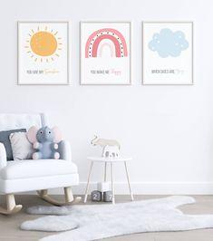 Set of 3 Nursery Decor, Sun Rainbow Cloud Nursery Decor, Nursery Printable - Modern Cloud Nursery Decor, Clouds Nursery, Nursery Themes, Nursery Wall Art, Girl Nursery, Nursery Prints, Nursery Ideas, Rainbow Room Kids, Rainbow Nursery