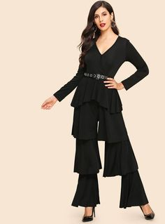 Black Layered Ruffle V-Neck Solid Jumpsuit Elegant Mid Waist Long Sleeve Jumpsuits Women Autumn Highstreet Party Jumpsuit Jumpsuit Outfit, Peplum Dress, Black Pattern, Fashion News, Glamour, V Neck, Clothes For Women, Long Sleeve, Jumpsuits