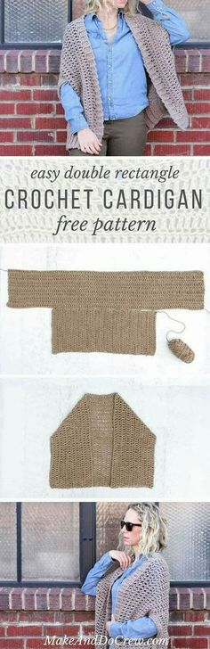 instructions easy crochet cardigan sweater made with rectangles