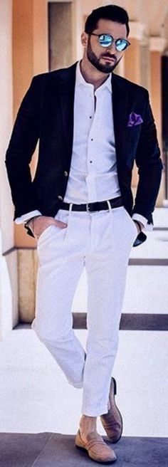 Black sport coat with white shirt and pants. #mensfashion #summerstyle #mens #bespoke #gentlemen #gentlemanstyle #menswear #menstyle #menshoes #streetstyle #giorgentiweddings #streetstyle #streetwear
