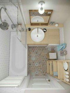 Patch tiles + whites + birch\/bamboo | Estilos de baño, ducha y tocador
