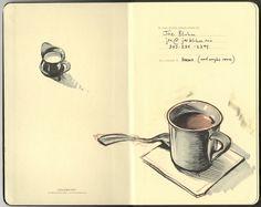 Coffee illustration on moleskin