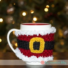 """A fun and festive mug cozy for the holidays! Matches the """"Santa Baby"""" earwarmer, also on my blog."""