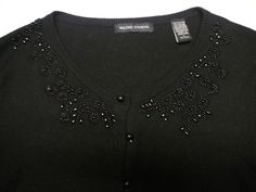 NWT Valerie Stevens Black Beaded Cardigan sweater 10% Rabbit Hair Angora Size L #ValerieStevens #Cardigan