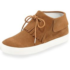 Derek Lam 10 Crosby Luca Fringe High-Top Sneaker (315 CAD) ❤ liked on Polyvore featuring shoes, sneakers, brown, shoes sneakers, suede flat shoes, suede high tops, suede shoes, high top sneakers and sport sneakers