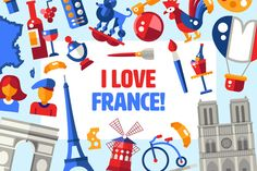 Big Bundle of France Icons & Cards by Decorwith.me Shop on @creativemarket