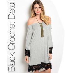 CABANA gray and black dress CABANA gray and black dress. I am so obsessed with this amazing dress! This knit off the shoulder dress features contrast colored black crochet trim along sleeves and hemline. Material: 96% rayon, 4% spandex. Available in sizes S, M & L. Please comment what size you need and I will make you a new post. Measurements available upon request. No trades. Price firm unless bundled. Thank you for visiting my closet! Dresses