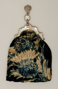 Victorian Velvet Chatelaine Purse With Silver Frame  c. 1860-1880