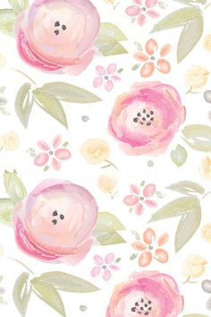 Watercolor Floral in pink by sugarfresh - Hand painted watercolor flowers in pink and green on fabric, wallpaper, and gift wrap.  Beautiful soft watercolor painted flowers in peach, pink, green, and yellow.
