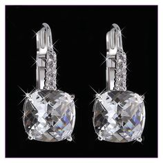 18K Silver Plated Dangle Earrings Crystal Drop, Factory Price, Worldwide Free Shipping!