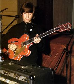 John Lennon Studio shot with one of George's Gretsch's?