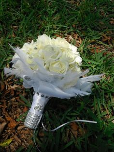 Velvet White Rose Feather Bouquet White Rose by AngelicasBridal, $150.00