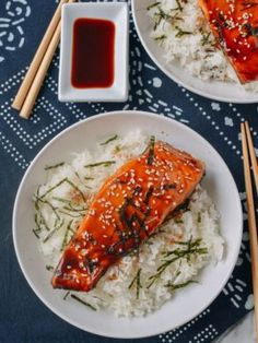 Salmon Teriyaki is one of my favorite Japanese-style dishes. The caramelized teriyaki sauce combined with the tender, fatty salmon is a killer combination, and it's easy to make at home. Salmon Recipes, Fish Recipes, Seafood Recipes, Asian Recipes, Dinner Recipes, Recipies, Cooking Recipes, Healthy Recipes, Teriyaki Bowl