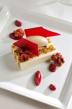 Beet Cake with Fromage Blanc Frosting, Walnut Ice Cream & Candied Walnuts. Food Arts - #plating #presentation