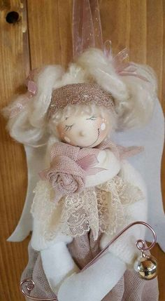 Hobbies And Crafts, Diy And Crafts, Felt Angel, Fabric Brooch, Decoupage, Doll Hair, Soft Dolls, Doll Crafts, Christmas Angels