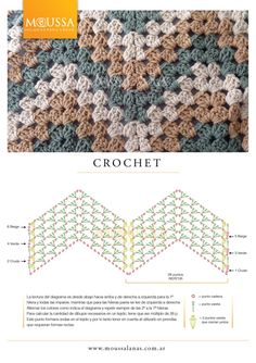 Pattern diagram for granny ripple. Being able to use pattern diagrams really makes things a *lot* easier to understand, especially when there's a foreign language involved :-) #crochet #afghan #blanket #throw #pillow