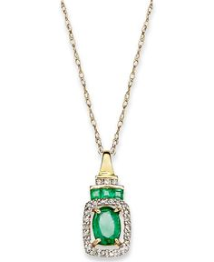 14k Gold Necklace, Emerald (9/10 ct. t.w.) and Diamond (1/5 ct. t.w.) Rectangle Pendant - Jewelry - Sale - Macy's 419.30 was 1000.00