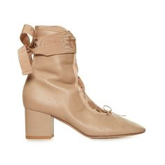 Valentino Ballerina lace-up ankle boots ($398) ❤ liked on Polyvore featuring shoes, boots, ankle booties, nude, lace up ankle boots, open toe lace up boots, block heel ankle boots, open toe lace up booties and nude ankle boots