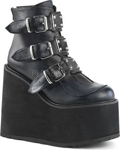 Black Matte Swing 105 Platform Wedge Ankle Boot Gothic Boots for Women High Ankle Boots, Platform Ankle Boots, Ankle Booties, Shoe Boots, Dr Shoes, Goth Shoes, Me Too Shoes, Toe Injuries, Vegan Leather