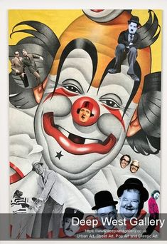Clowns By Phil Bedford Mixed Media Collage -UNFRAMED analogue collage mounted on foam board Size : x S Williams, Send In The Clowns, Mixed Media Collage, Urban Art, Galleries, Street Art, Art Gallery, Deep, Board