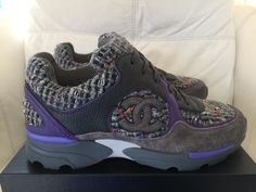 separation shoes 896e7 6cc56 Chanel Gray Tweed Suede Sneakers Tennis Trainers 36.5 Purple Athletic  Shoes. Get the must-