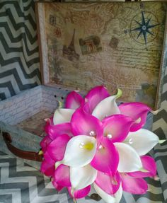 Calla Lily Bouquet 15 piece Wedding Set Hot Pink Calla Lily Set by SilkFlowersByJean, $372.00