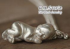 Handmade 3D Solid Silver 'New Baby' Pendant, Newborn, Wedding, Anniversary, Birthday, Christmas, Mother's Day Gift