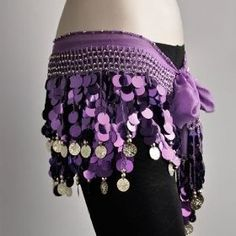 100% Handmade Belly Dance Hip Scarf Purple, Gold Coins Lively Style. So I bought this hip scarf for my Halloween costume, I was a gypsy. I loved it! It's a lotta fun and it's not like cheap material :) I don't personally belly dance but it's really pretty! I would love to buy more colors and use it for costumes again :) - Click picture for Description and other picture! $5.38 from Amazon