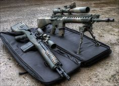 AR-10 and an M14 rifles HDR